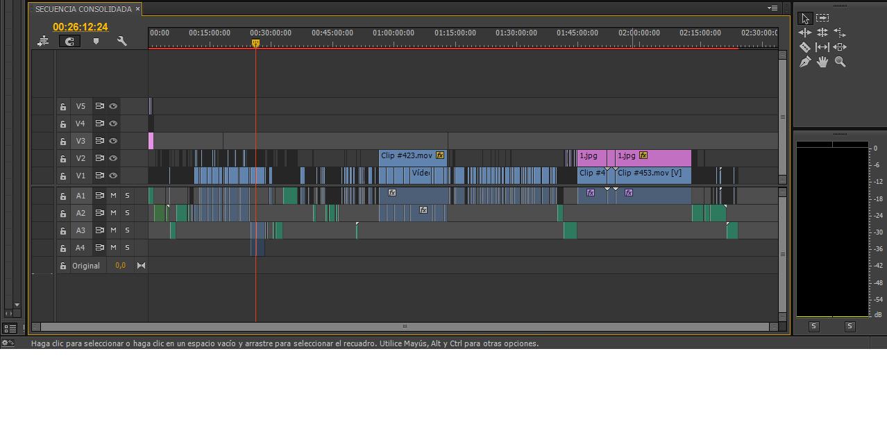 time line de un software de Post-producción
